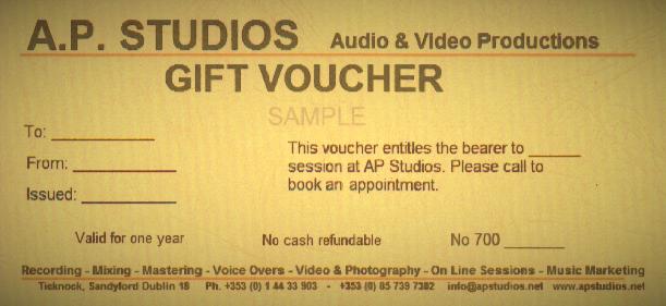 AP Recording Studios Dublin Gift Voucher